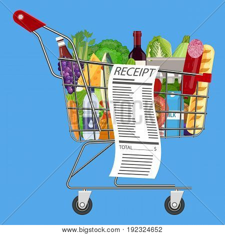 Metal shopping cart full of groceries products and receipt. Grocery store. Supermarket. Fresh organic food and drinks. Vector illustration in flat style