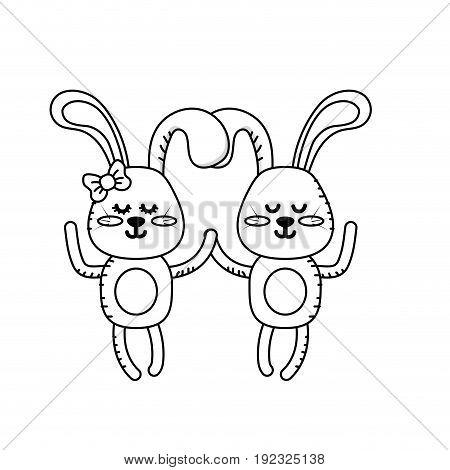 line cute animal couple rabbit together vector illustration