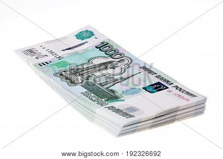 Stack Of Russian Rubles On White Background.