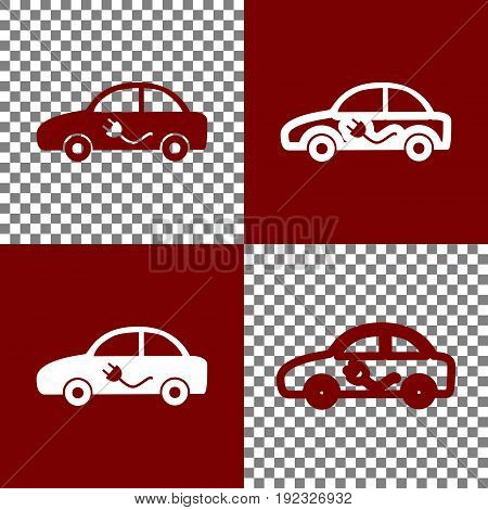 Electric car sign. Vector. Bordo and white icons and line icons on chess board with transparent background.