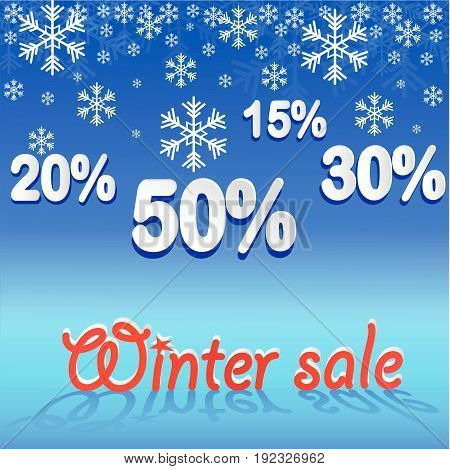 Winter sale background with snow. Sale. Winter sale. Christmas sale. New year sale. Vector illustration