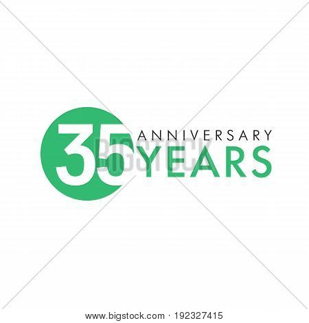 35 years old round logo. Anniversary year of 35 th vector key numbers. Greetings, ribbon, celebrates. Celebrating 3rd place, 35th idea. Colored traditional digital logotype of ages or % off.