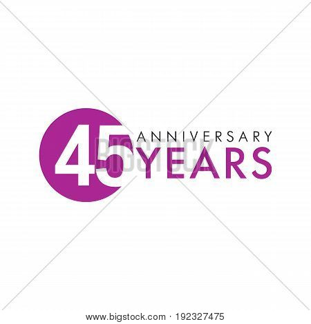 45 years old round logo. Anniversary year of 45 th vector numbers. Greetings, ribbon, celebrates. Celebrating congratulating 4th place, 45th key shape idea. Colored traditional digital logotype of ages or % off.