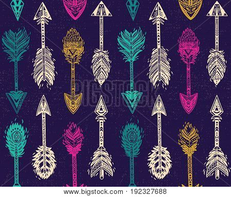 Seamless pattern with Native American Navajo arrows in night colors. Bohemian style. American indian motifs. Vector illustration.