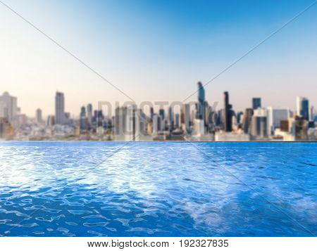 3d rendering infinity pool with cityscape background