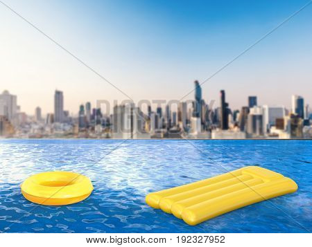 3d rendering swim ring and raft on infinity pool with cityscape background