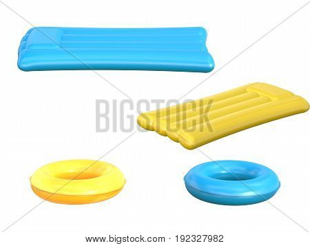 3d rendering inflatable rafts and swim rings isolated on white