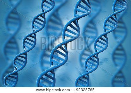 Blue Dna Structures On Blue Background