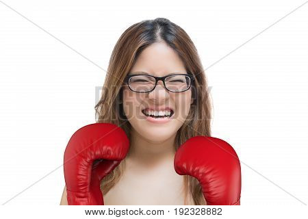 Woman Fighting With Red Boxing Gloves