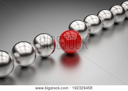 leadership concept with 3d rendering red ball