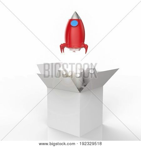 3d rendering space shuttle launch out of the box