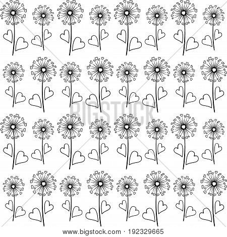 Dandelion isolated on white vector seamless pattern. Meadow flower illustration with heart shaped fluff. Repeating floral ornament with black dandelion isolated. Blow ball summer blossom black outline