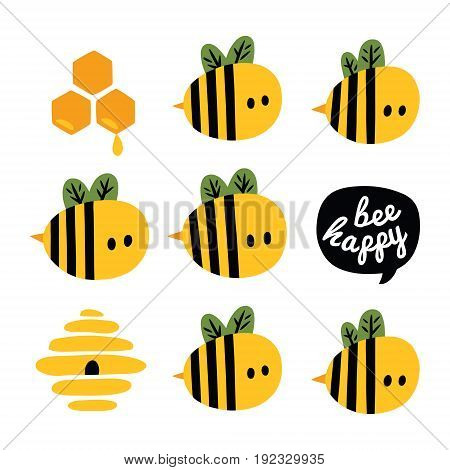 Be happy greeting card with yellow cartoon bees and beehive