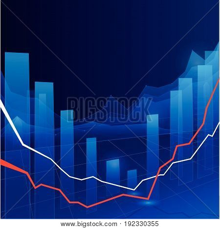 Stock Market Graph and Bar Chart in blue tones