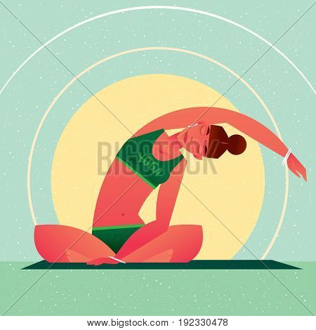 Girl Sitting In Yoga Lotus Pose And Tilts Left
