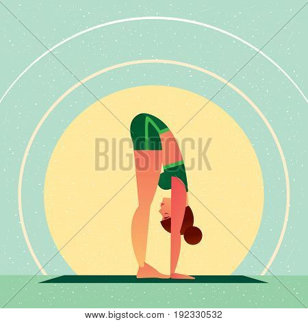 Girl Standing In Yoga Standing Forward Bend Pose