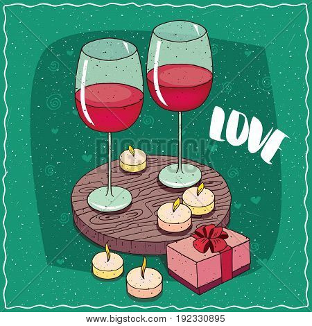 Composition With Red Wine And Pink Gift Box