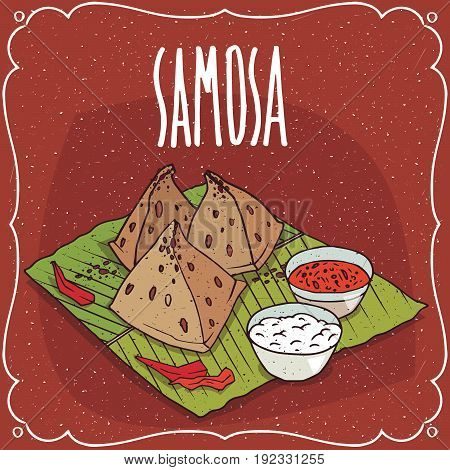 Indian Snack Samosa With Sauce And Curd Cheese