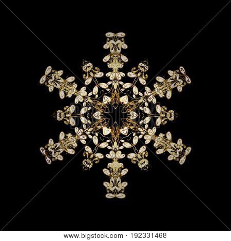 Design. Vector background for Christmas with decorative golden snowflakes. Pattern on black background.