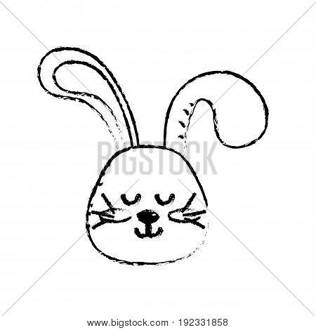 figure teddy rabbit boy head animal wild vector illustration