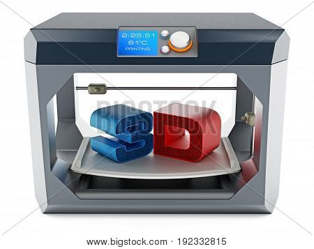 Printed 3D text on 3D printer printing surface . 3D illustration.