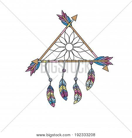 beauty dream catcher with feathers and arrows design vector illustration