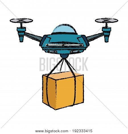 delivery service drone with the package vector illustration