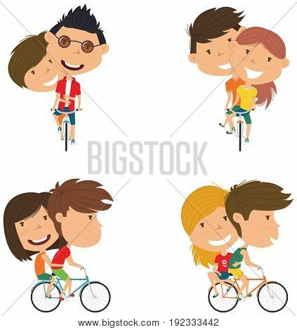 Happy boys and girls ride bicycle together. Cute couple on bikes vector flat illustration.