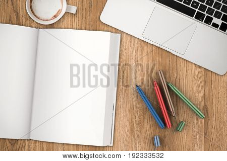 3d rendering blank book with pen top view