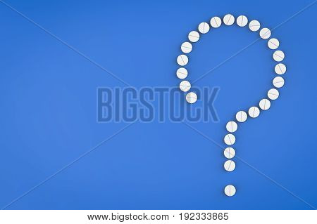 health problem concept with 3d rendering white pills arrange to question mark