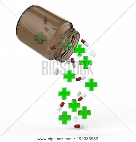 3d rendering green cross and pills falling out of bottle