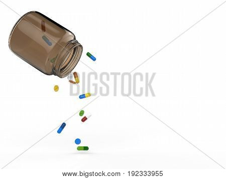 3d rendering pills spilling out of bottle on white background