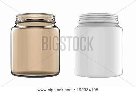 3d rendering empty glass jars isolated on white