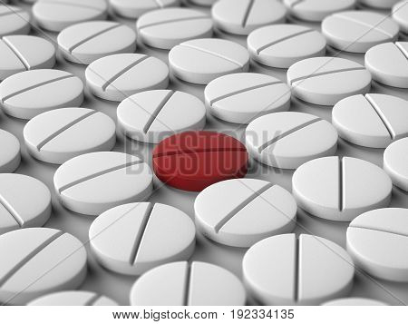 leadership concept with 3d rendering red tablet among white tablets