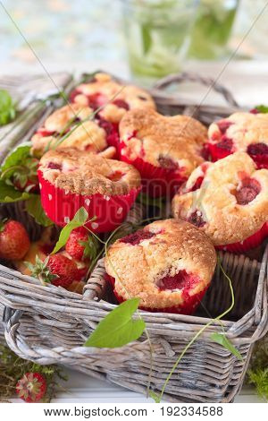 Fresh homemade delicious berry muffins for a picknick.