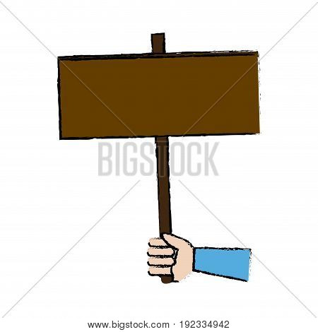 hand holding placard blank campaing vector illustration