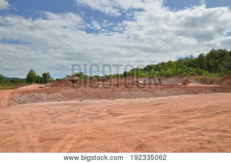 Construction site and Construction activity with beautiful bluesky
