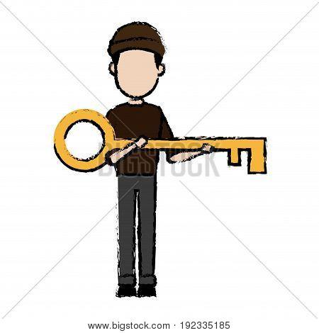 hacker character holding big key security image vector illustration