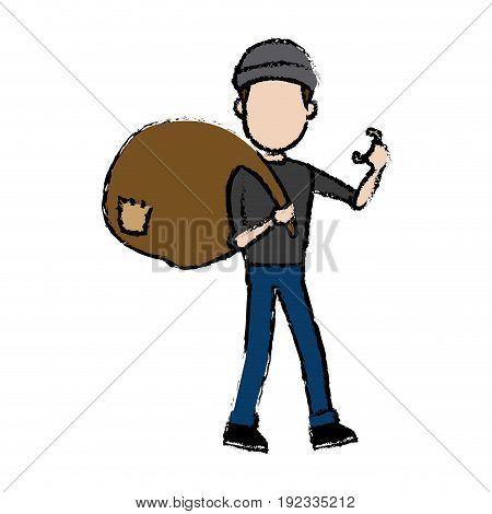 hacker character holding bag criminal concept vector illustration
