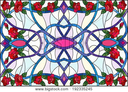 Illustration in stained glass style with abstract swirlsflowers of roses and leaves on a light backgroundhorizontal orientation