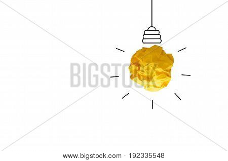 isolate concept crumpled paper light bulb metaphor for good idea on white background