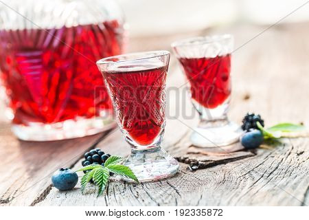 Fresh Liquor With Berry Fruits And Alcohol In Summer