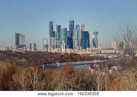 Moscow Russia - February 17 2015: View from the observation deck on the Vorobyovy Gory on the business center