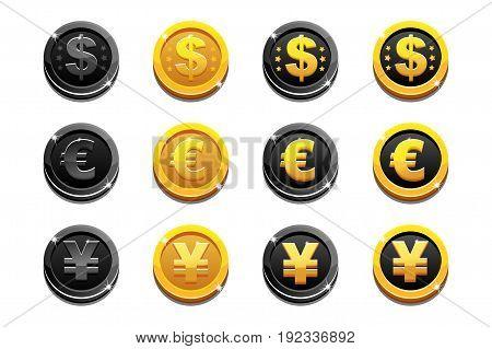 Vector Cartoon set golden and black dollar, euro and yen coins