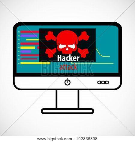 Computer Virus Concept. Hacker Attack Detected. Red Skull monitor Icon. Vector Illustration.