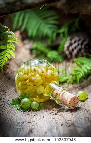 Liqueur Made Of Alcohol And Gooseberries In Forest