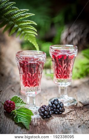 Tasty Liqueur Made Of Blackberries And Alcohol In Summer