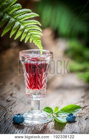 Sweet Liqueur Made Of Alcohol And Blackberries In Summer