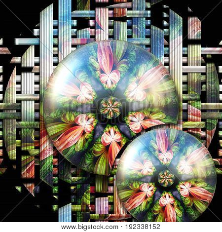 3D rendering combo artwork with colorful weave fractal background and coupled glossy fractal buttons