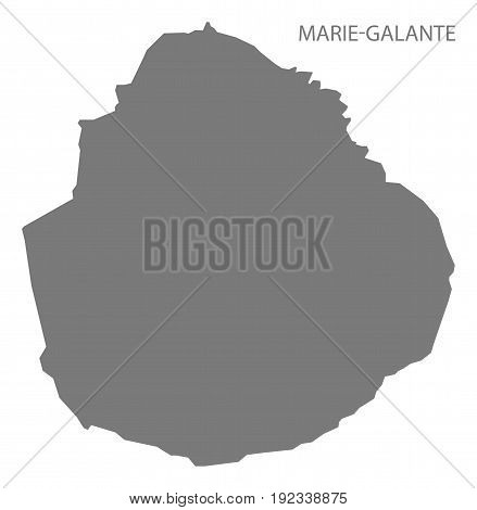 Marie-galante Island Of Guadeloupe Map Grey Illustration Silhouette